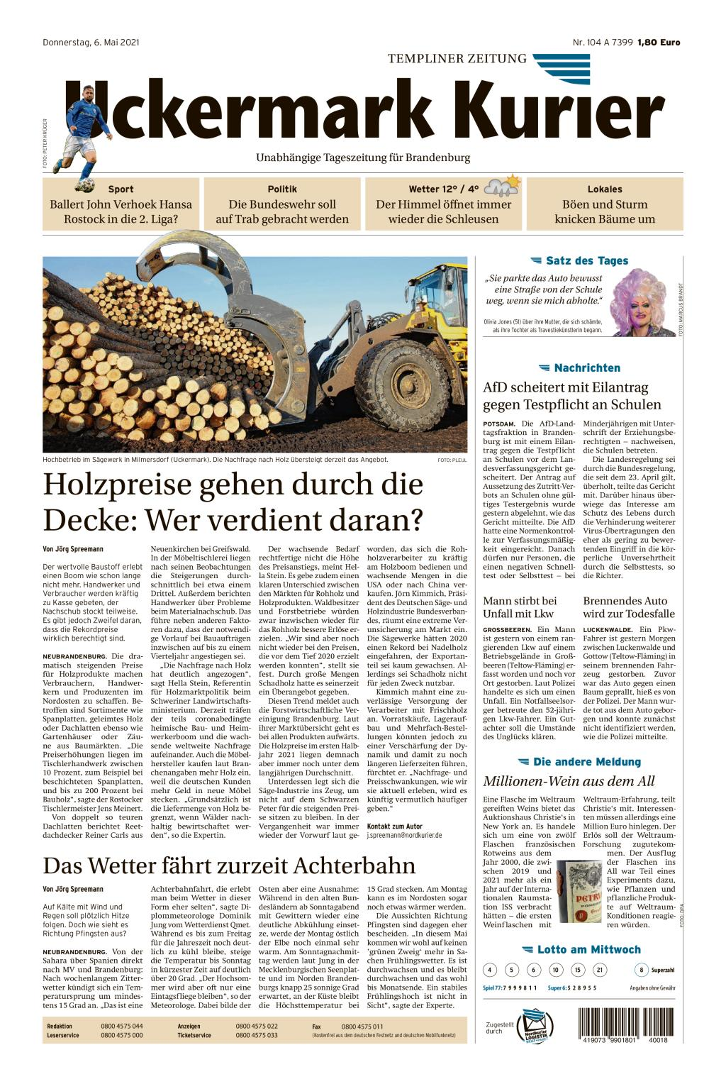 Titelseite: Uckermark Kurier