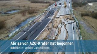 Abriss des A20-Kraters beginnt (Video)