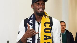 Usain Bolt zum Fußball-Probetraining in Australien